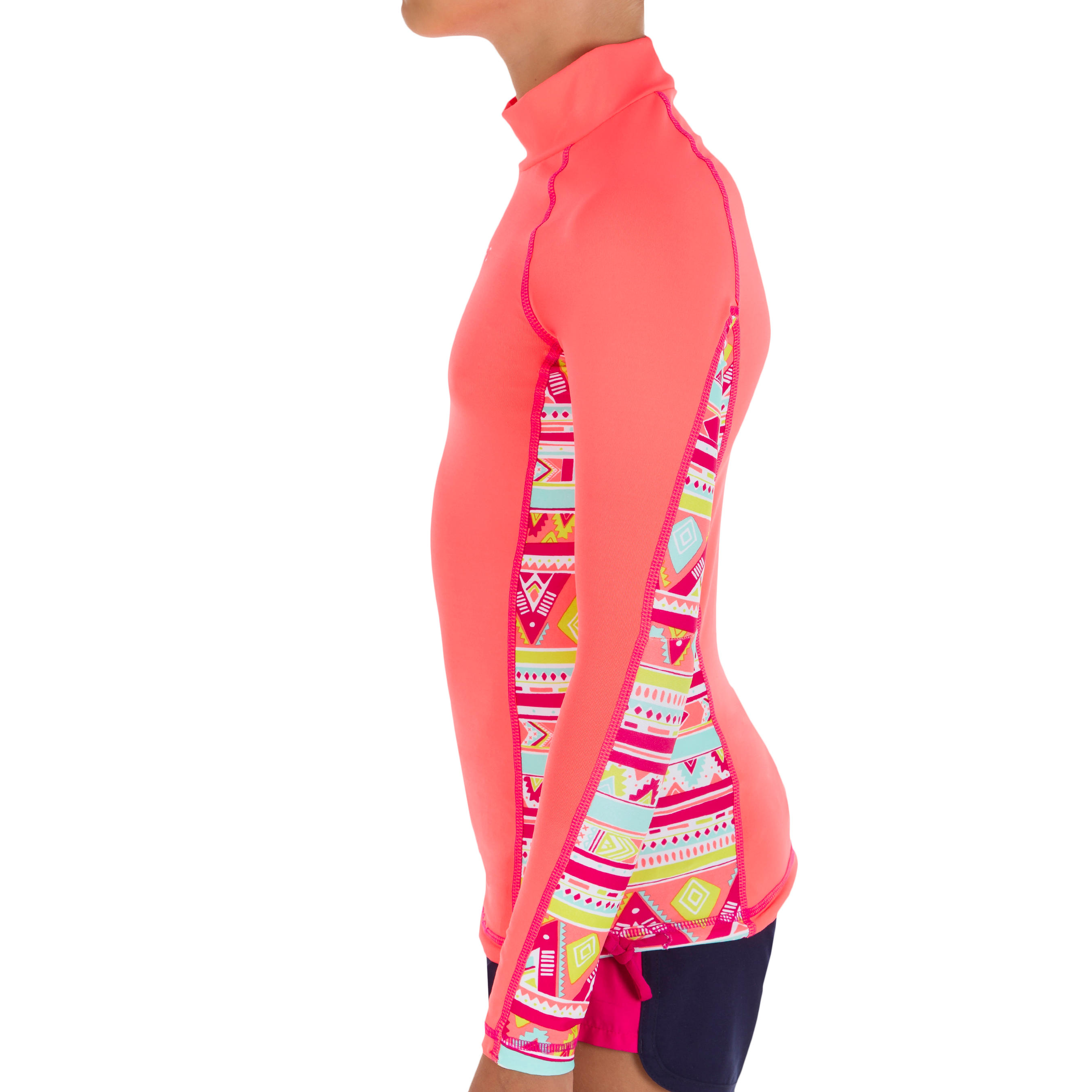 500 Children's Long Sleeve UV Protection Top Surfing T-Shirt - Pink