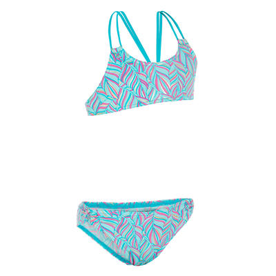 Bahia Girls' Two-Piece Crop Top Surfing Swimsuit - Palm Blue