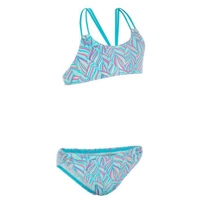 Bikini-Set Bustier Bahia Palm Surfen Mädchen blau