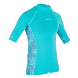 Camiseta anti-UV surf Top 500 manga corta niños Azul turquesa
