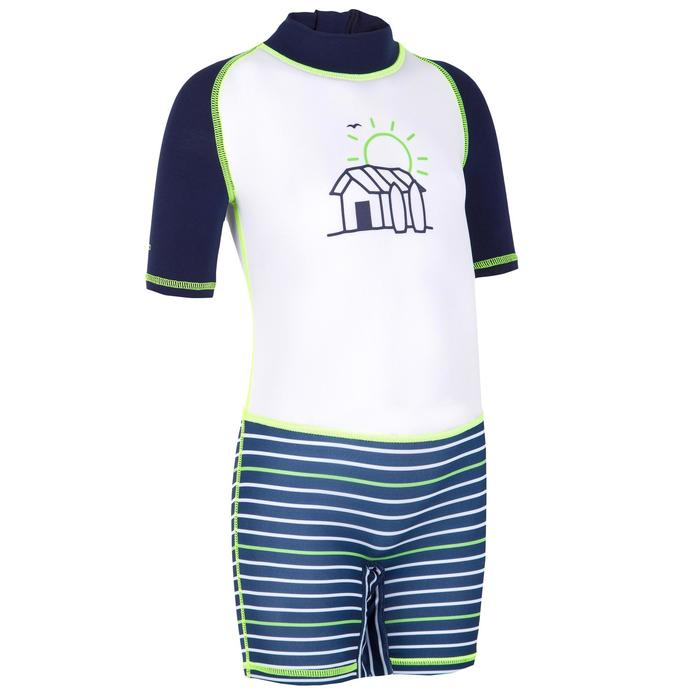tee shirt anti UV shorty surf manches courtes bébé rayé bleu