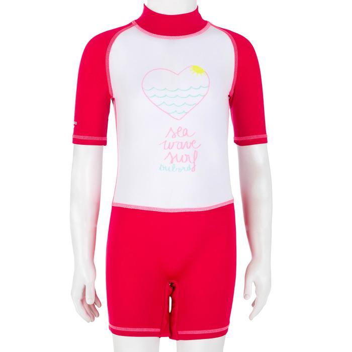 tee shirt anti uv shorty surf manches courtes bébé blanc rose