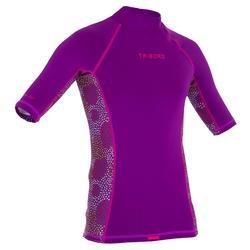 Tee shirt anti UV Surf top 500 Manches Courtes Enfant Violet