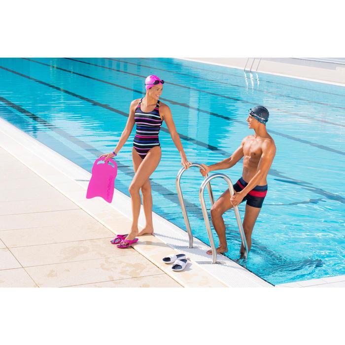 Badslippers voor zwembad heren Slap 500 wit/blauw