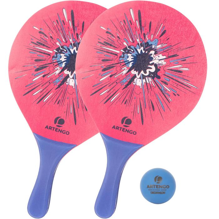 Beachtennisset Woody rackets roze