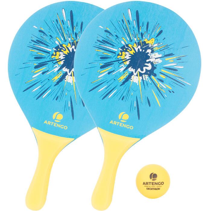 Beachtennisset Woody rackets blauw