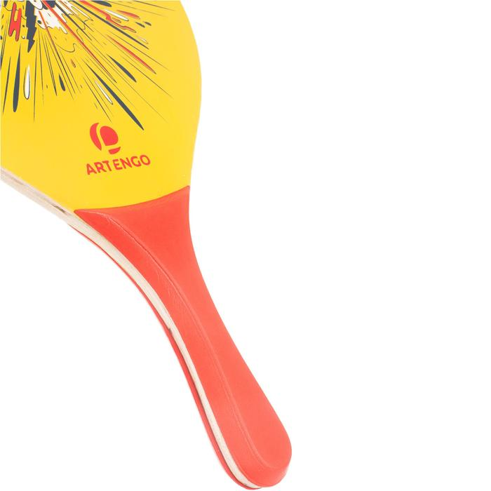 Beachtennisset Woody rackets geel