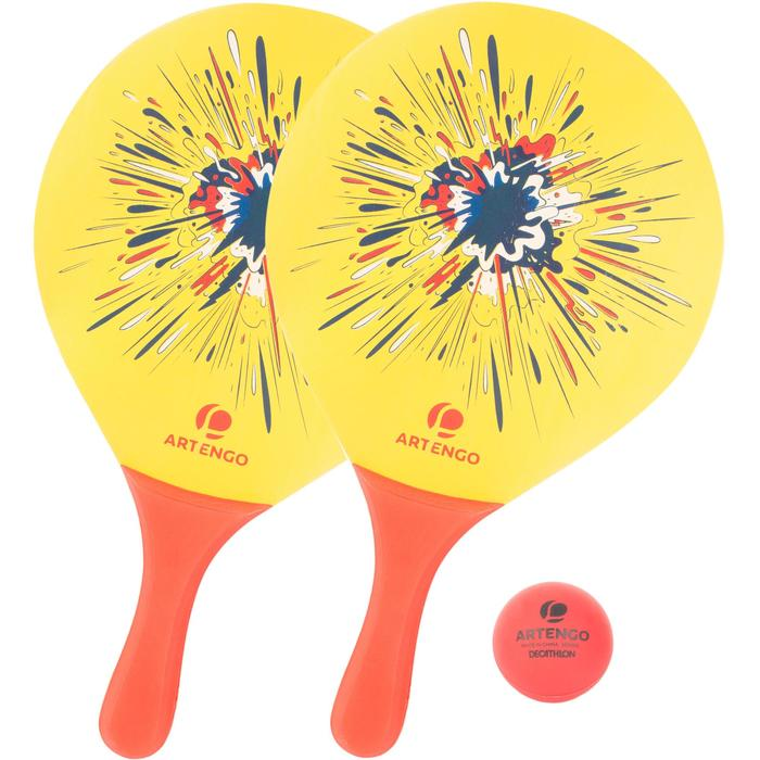 Beachtennis set Woody rackets geel