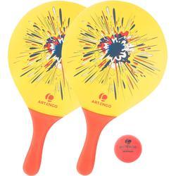 Beachtennisset Woody rackets geel