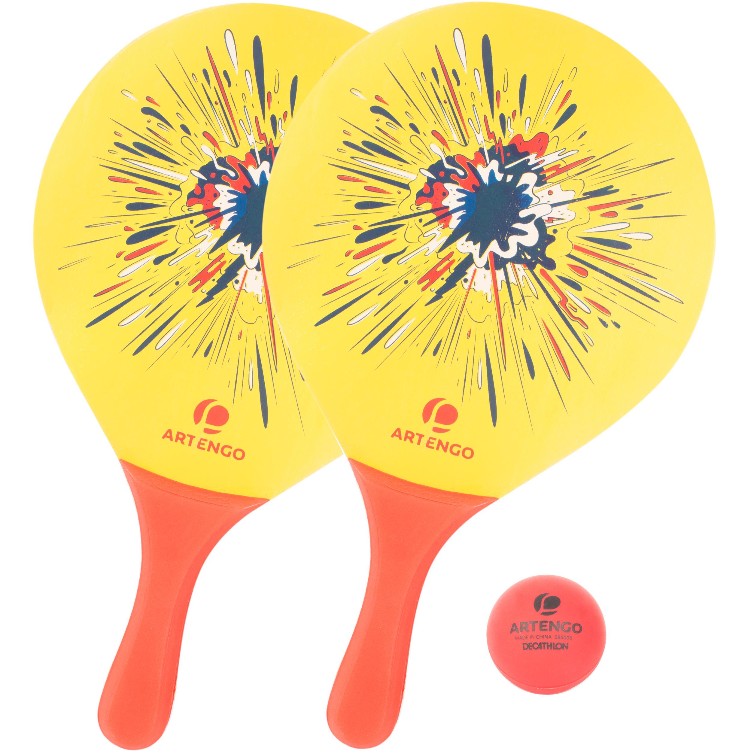 Set raquettes Beach Tennis woody rackets Jaune