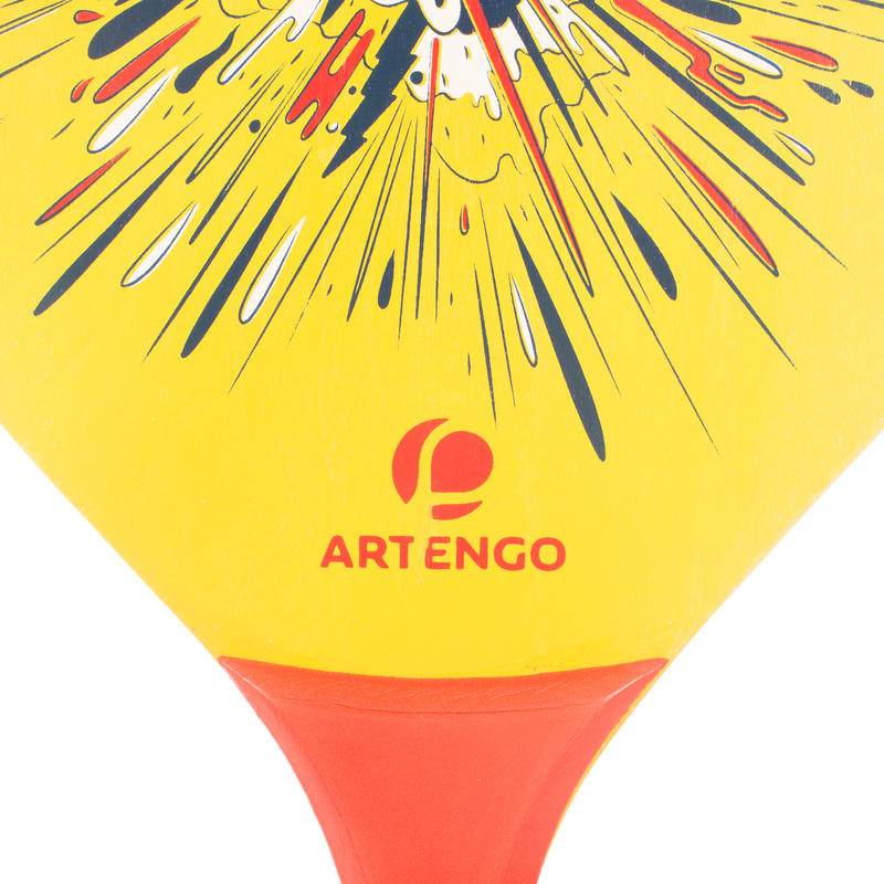 Set raquetas tenis playa woody rackets amarillo