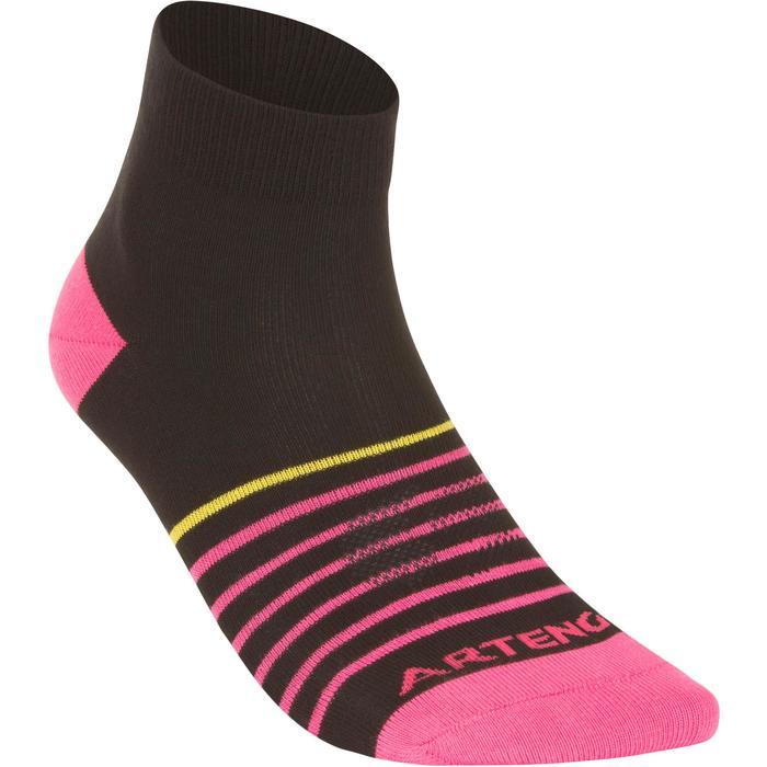 Halfhoge sportsokken kinderen Artengo RS 160 zwart/roze 3 paar