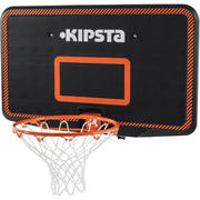 B300 Kids'/Adult Wall-Mounted Basketball Basket Set - Black/Orange
