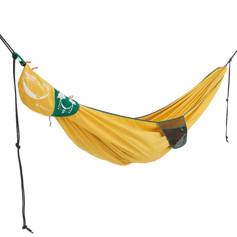 SÖMN BASLÄGER NATURVANDRING Camping - HÄNGMATTA COMFORT TVÅ PERS GUL QUECHUA - Campingmöbler