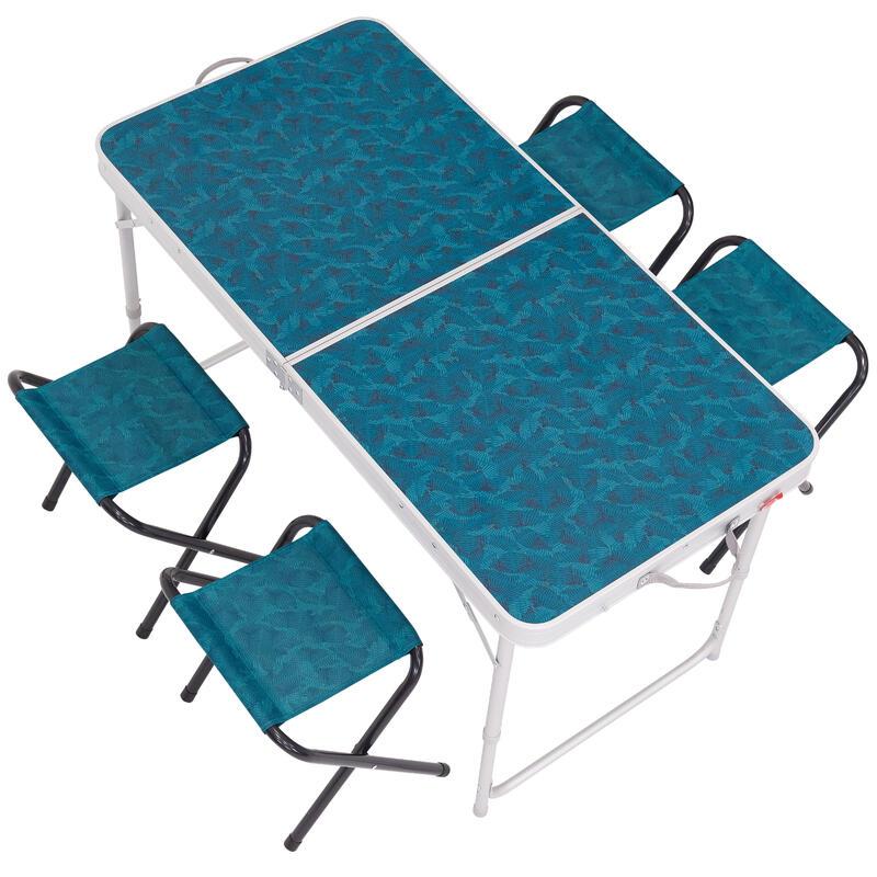 Mesa de camping/campamento del excursionista Azul para 4 personas con 4 asientos
