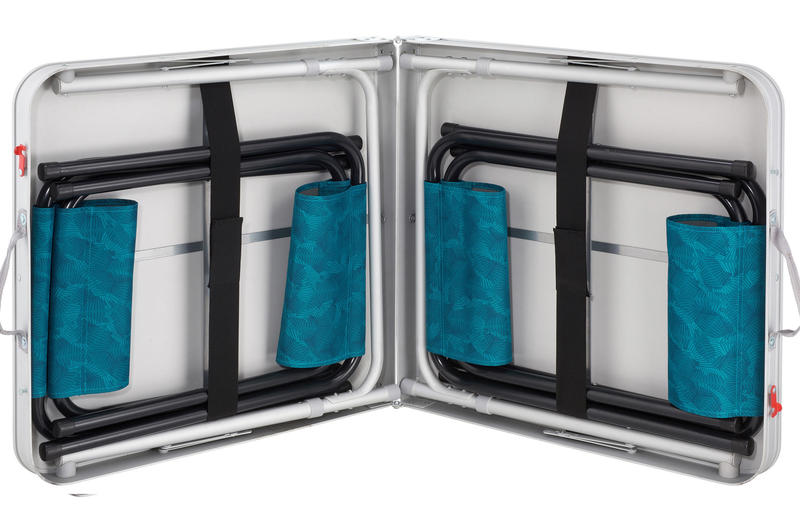 Camping Table (Foldable) with 4 Stools - Blue