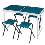4-Person, Camping/Hiking Table With 4 Seats - Biru