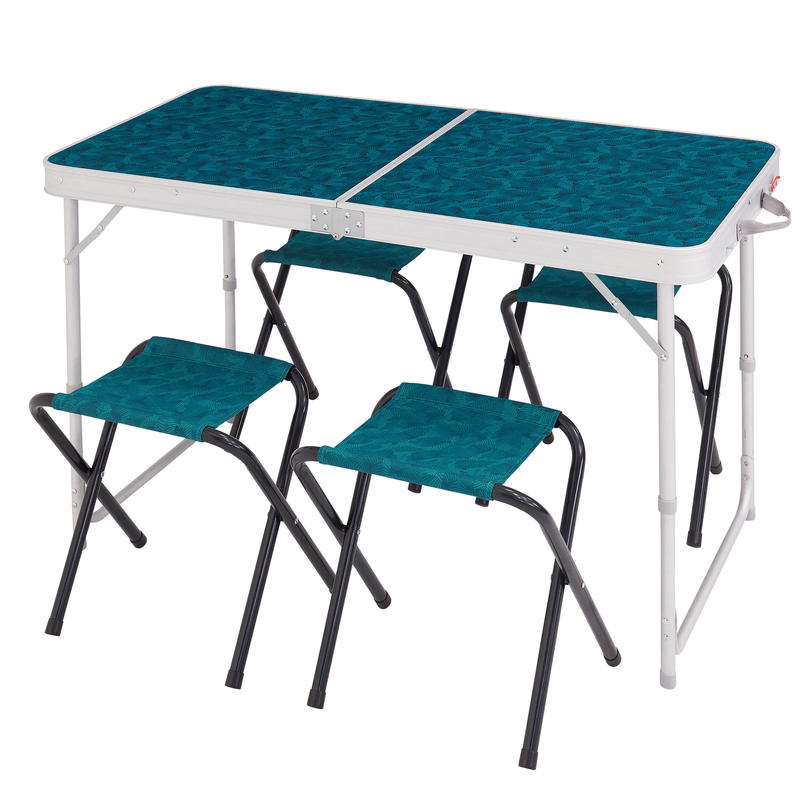 Camping Table Foldable With 4 Stools Blue