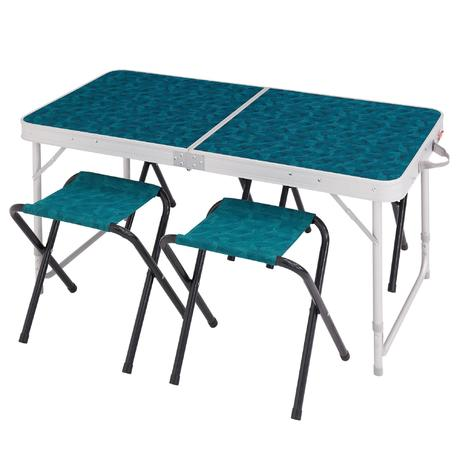 Camping table for 4 people with 4 seats quechua for Table quechua