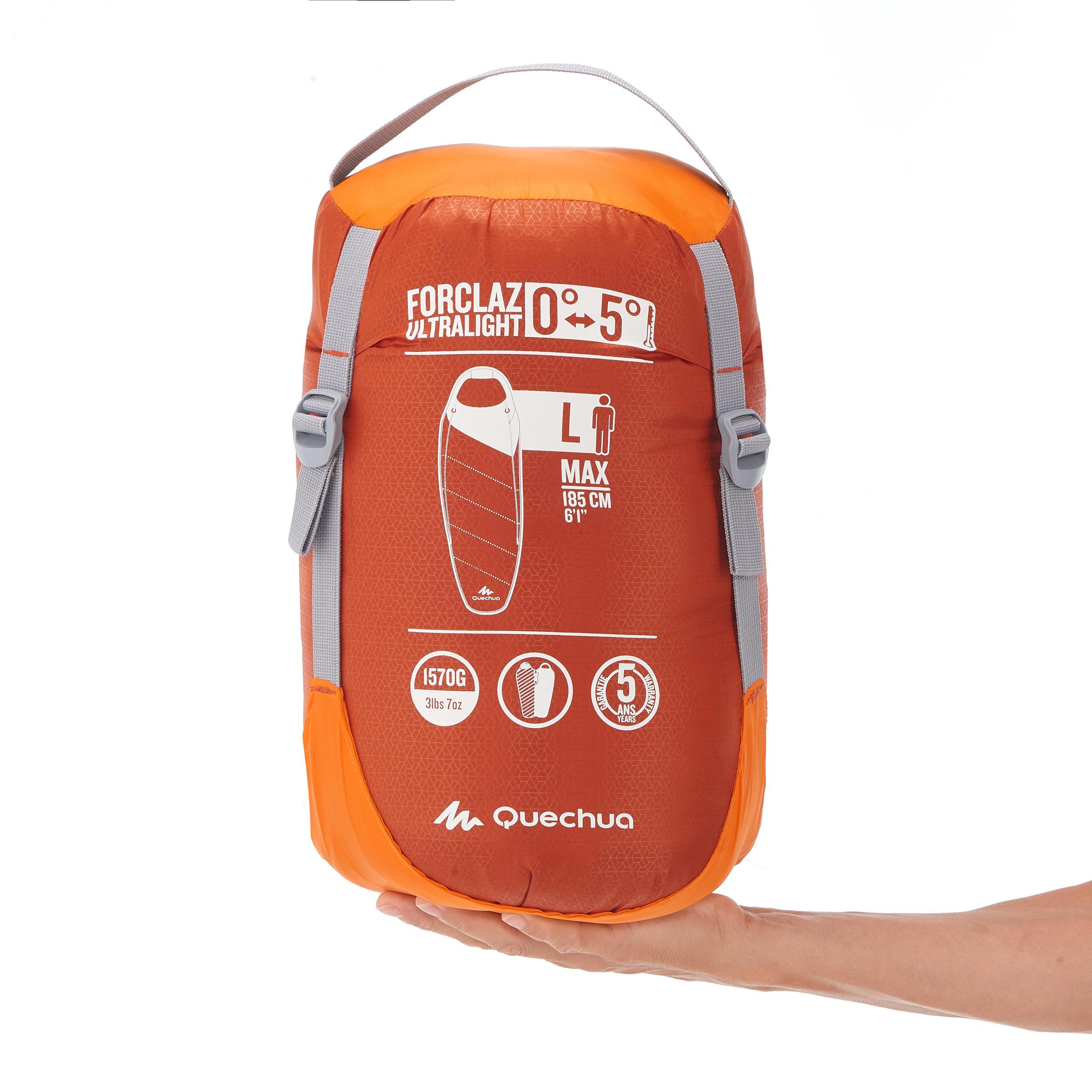 Forclaz 0/5° Ultralight Bivouac/Trekking Sleeping Bag - Orange