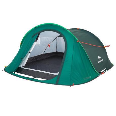 2 seconds camping tent 3 man green quechua. Black Bedroom Furniture Sets. Home Design Ideas