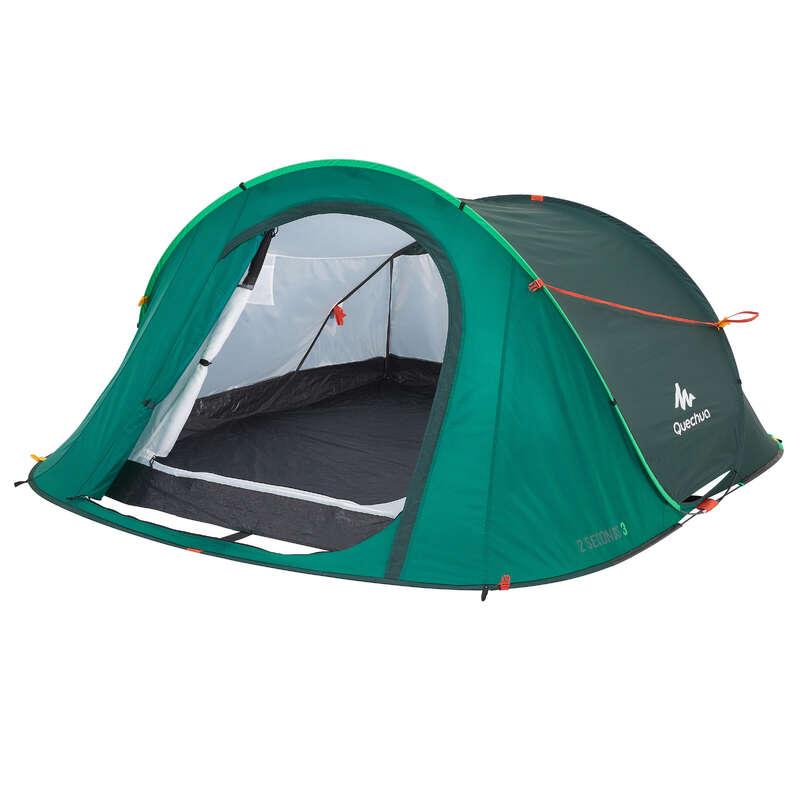 TOURING CAMP TENTS, TARPS Camping - 2 SECONDS 3 MAN GREEN QUECHUA - Tents