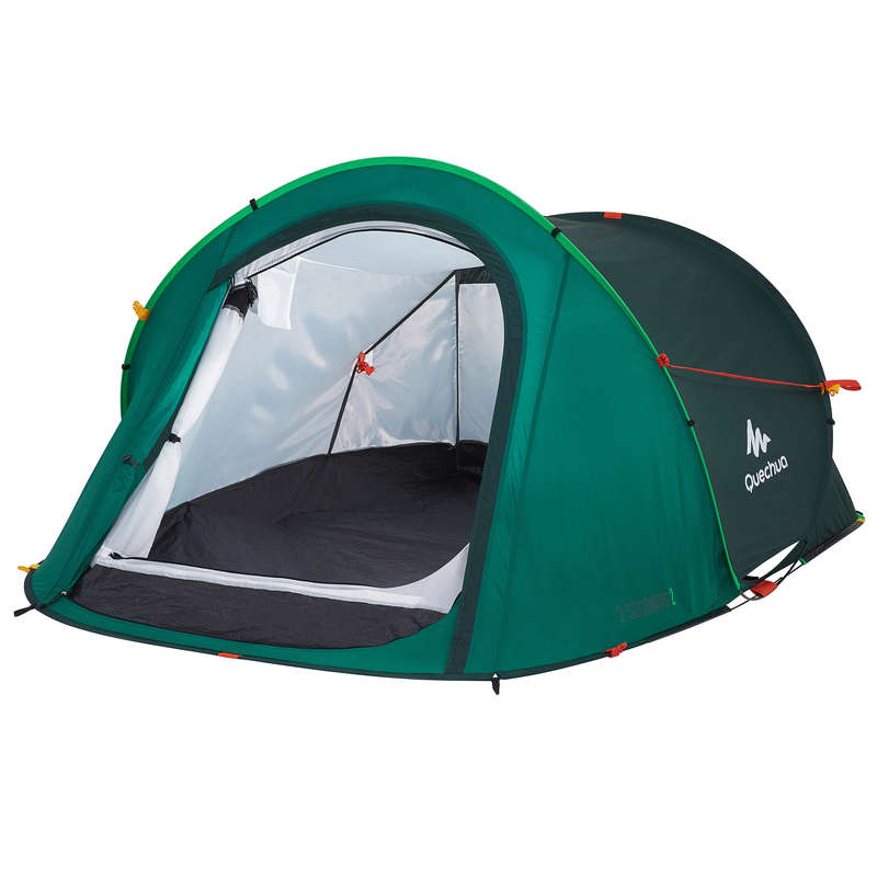 TÄLT, TARP, VANDRINGSLÄGER Camping - TÄLT 2 SECONDS GRÖN 2 P QUECHUA - Campingtält