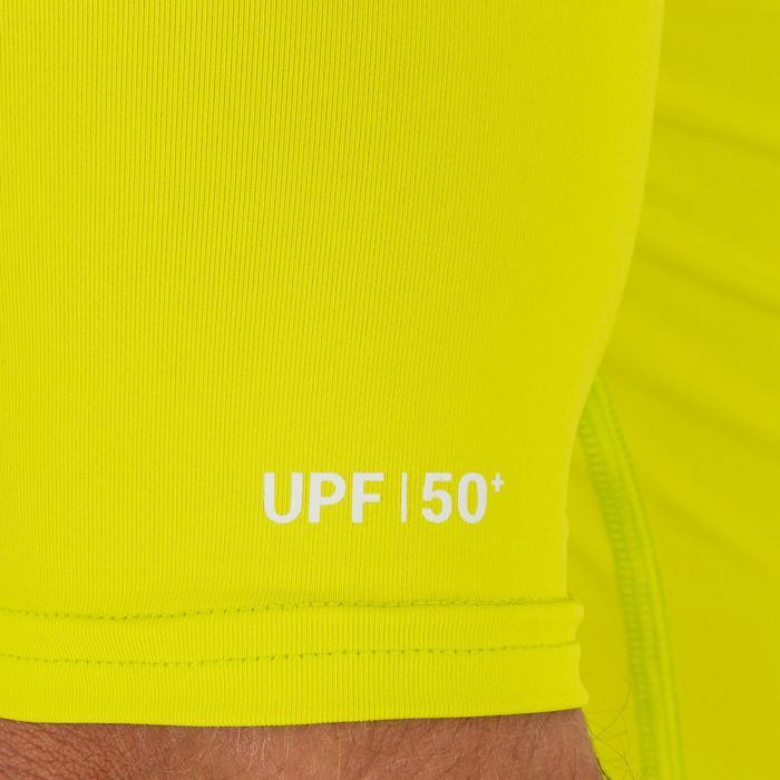 Uv-werende rashguard 100 met korte mouwen voor heren, voor surfen, anijsgeel