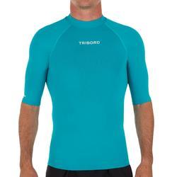 Uv-werende rashguard 100 met korte mouwen voor heren lichtblauw
