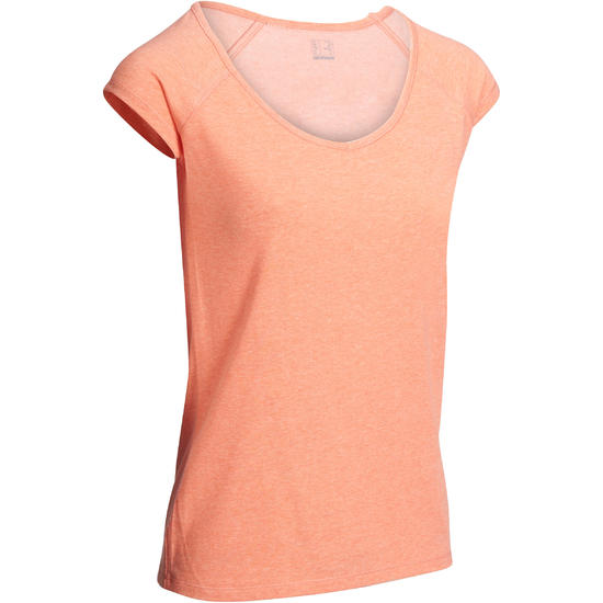 Dames T-shirt voor gym en pilates, slim fit - 1097965