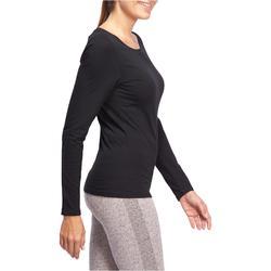 T-shirt 100 met lange mouwen pilates en lichte gym dames zwart