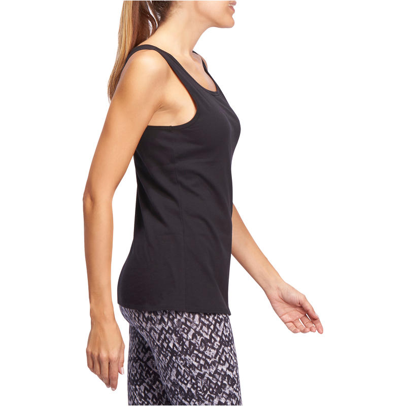 Women's Regular-Fit Pilates & Gentle Gym Sport Tank Top 100 - Black