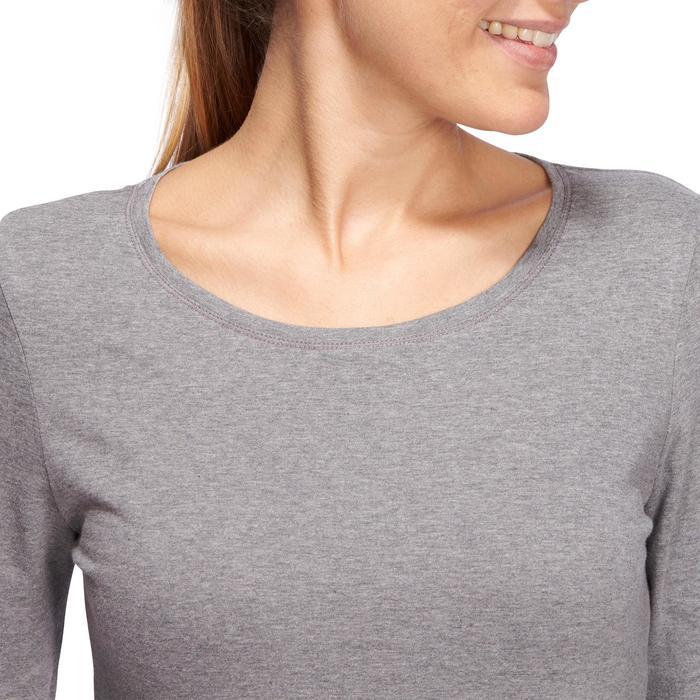 Langarmshirt 100 Gym Stretching Damen graumeliert