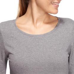 Langarmshirt 100 Pilates sanfte Gym Damen grau meliert
