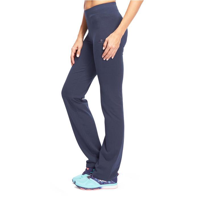 Mallas Leggings Deportivos Gimnasia Pilates Domyos FIT + 500 Regular Mujer Azul