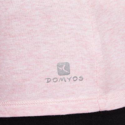 500 Women's Regular-Fit Pilates & Gentle Gym T-Shirt - Light Pink