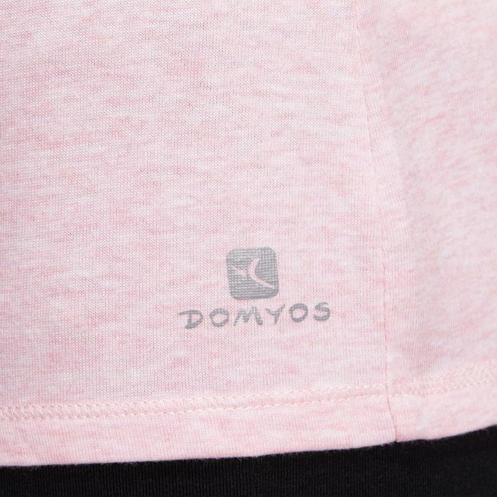 Camiseta Manga Corta Gimnasia Y Pilates Domyos 500 Regular Mujer Rosa Claro