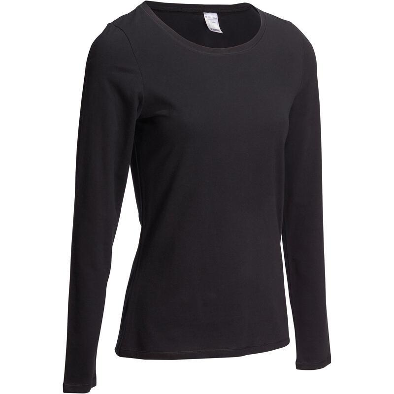 4f4e8f73a Camiseta Manga Larga Gimnasia Pilates Domyos 100 Mujer Negro ...