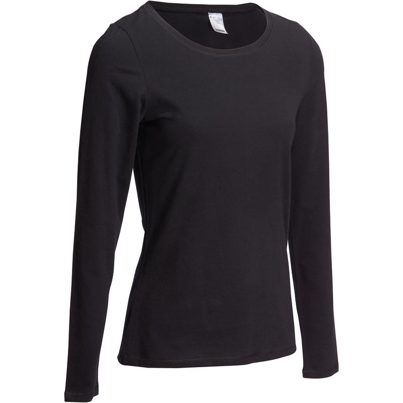 T-shirt manches longues sport pilates gym douce 100 noir– Femme