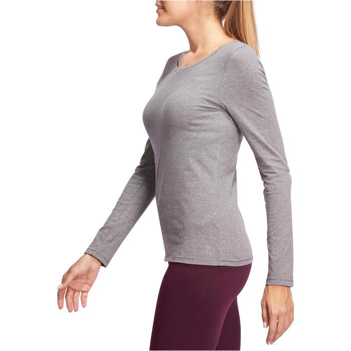 T-shirt met lange mouwen voor pilates en lichte gym dames 100 gemêleerd grijs