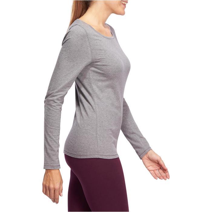 Dames T-shirt 100 met lange mouwen voor gym en stretching gemêleerd grijs