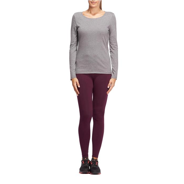T-Shirt 100 manches longues Gym Stretching femme gris chiné