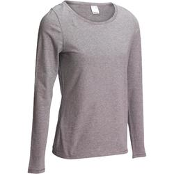 100 Women's Long-Sleeved Pilates & Gentle Gym T-Shirt - Mottled Grey