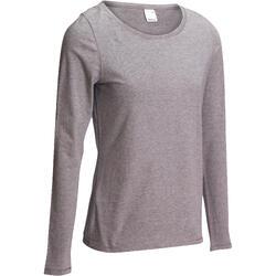 Shirt 100 met lange mouwen voor dames gemêleerd grijs