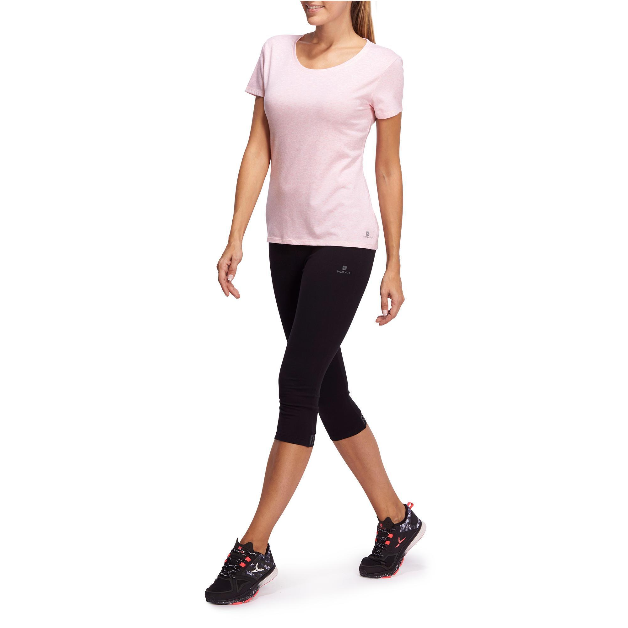 Domyos Y Manga Camiseta Regular Pilates Mujer Gimnasia Corta 500 RwnwSZx a6bc612551744