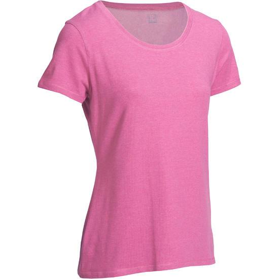 Dames T-shirt met korte mouwen voor gym en pilates, regular fit, gemêleerd - 1098265