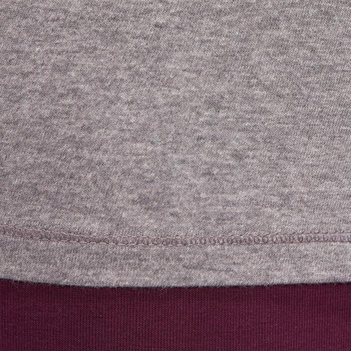T-shirt 100 manches longues Gym Stretching femme gris chiné