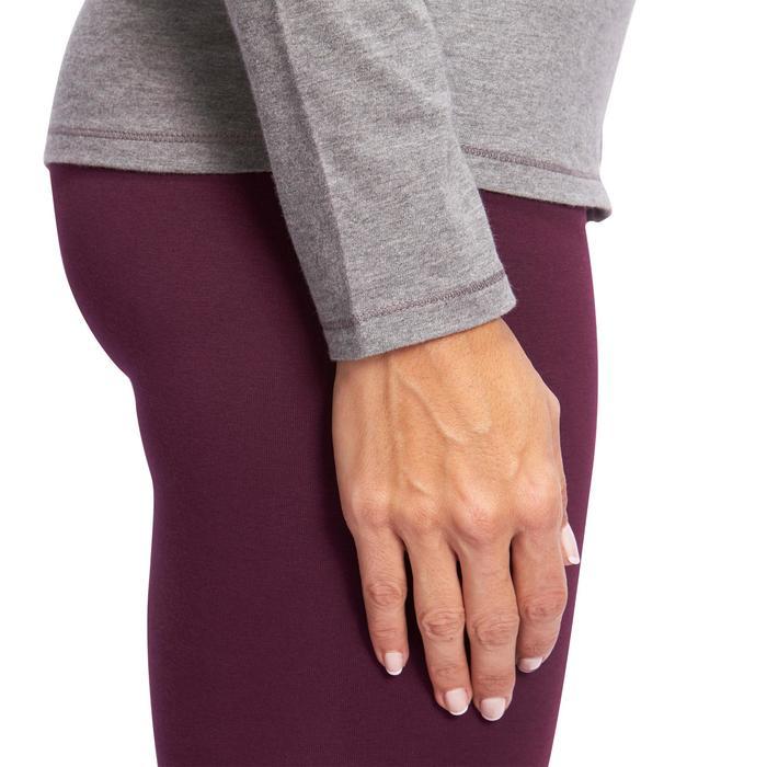 T-shirt 100 met lange mouwen pilates en lichte gym dames gemêleerd grijs