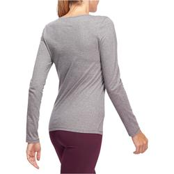 Camiseta 100 manga larga Pilates y Gimnasia suave mujer gris jaspeado