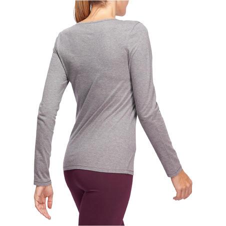 Жіноча футболка 100 для пілатесу та гімнастики, з довгим рукавом - Сіра